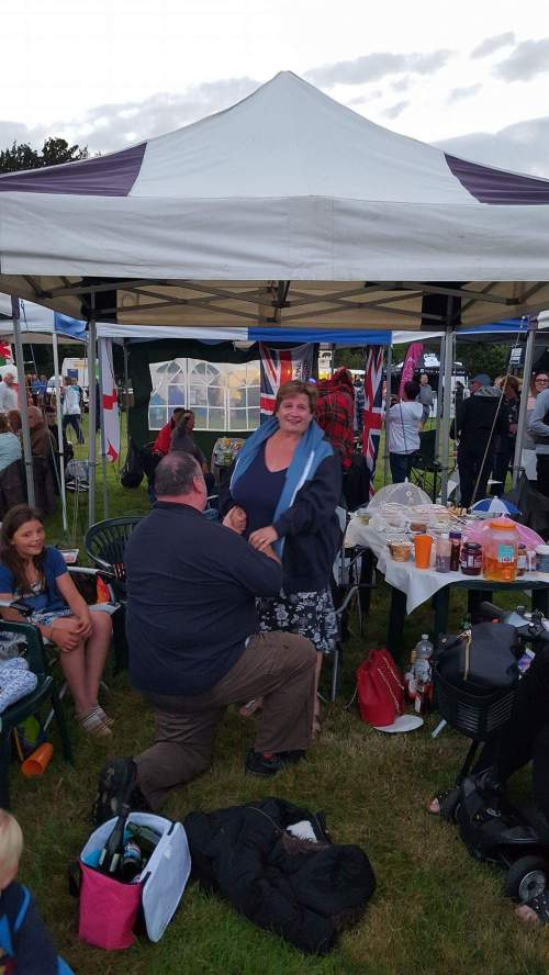 Kevin Henderson proposes to Elaine Tomlinson at the Ragley Hall Battle Proms