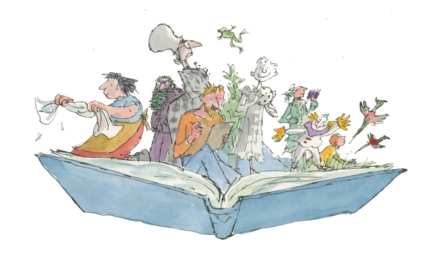 Quentin Blake Inside Stories Exhibition image featuring 1 character from each key title in the exhibition