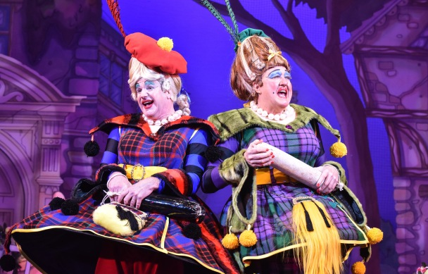 Greg Powrie and Iain Lauchlan as the Ugly Sisters in Cinderella at the Belgrade Theatre - Credit Robert Day