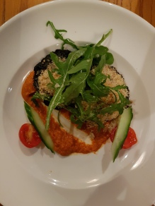 Stuffed mushroom, blue cheese crumb, pepper puree, rocket salad (v)